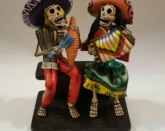 Musicians Couple ~ Los Dias de los Muertos ~ Hand Crafted Folk Art Figurines from Peru - Musicians