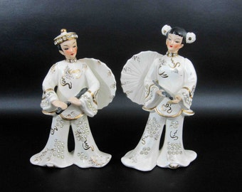 Vintage Pair of Asian Figurines by Lefton's Exclusives - Japan. Circa 1950's - 1960's.