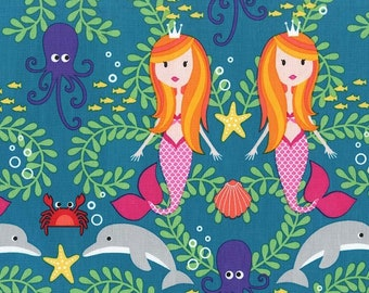 Michael Miller Fabric Mer-Mates Collection Siren Sisters Mermaids Lagoon, Choose your cut