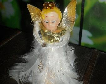 Vintage - 1950s - Feather - Foil  Angel - Tree Topper / Decoration