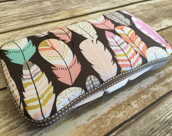 Wipes Case, Diaper Strap, Diaper Clutch, Travel Wipes Case, Diaper Holder, Pattern: Feathers on Grey