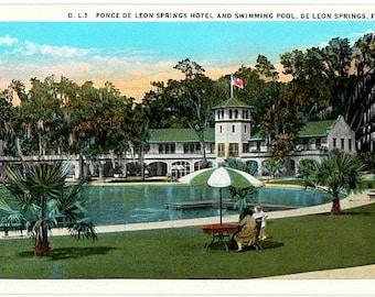 Vintage Florida Postcard - De Leon Springs (Unused)