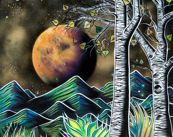Magic Aspens  - Giclee Print of Surreal Abstract Landscape Art