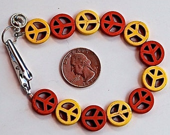 Hippie Bracelet, Roach Clip, Handmade Clip, Peace Beads