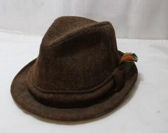 Vintage CHAMP Brown Tweed Fedora Size 7 1/4, Wool Blend