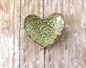 Light Green Ring Holder - Ring Dish - Decorative Pottery Dish - Ceramic Ring Bowl - Heart Dish - Jewelry Dish - Wedding Favor - Gift Box