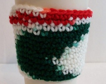 Crochet Coffee Cup Sleeve in Christmas Holiday Colors, For Coffee Lovers and Tea Lovers