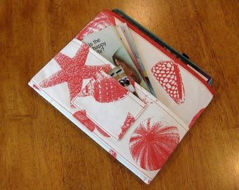 Coral Shells Magazine & Tract Bag, Tablet Sleeve, With Contact Card Pocket