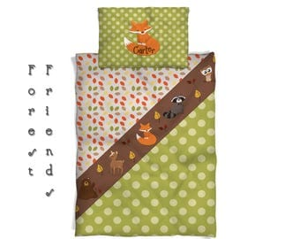 Forest Friends Custom Bedding, Duvet Cover or Comforter Option - AVAILABLE Toddler, Twin Size, Full-Queen
