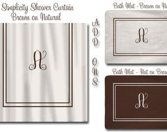 Custom Simplicity Shower Curtain - Any Color- Standard or ExLong (Shown Brown on Natural and Grey on white) Add on Mats Available