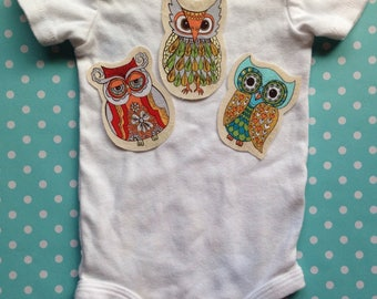 3 Piece Fabric Iron On Applique Owl Set