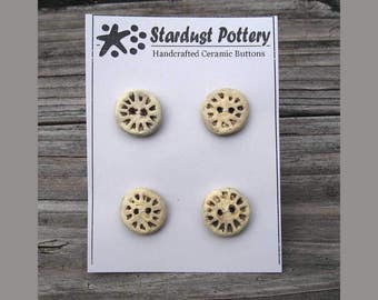 Ceramic Buttons Round Textured Wheel Design 2-hole (set of 4)