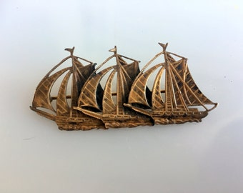 Antique Brass Sailing three ships Brooch Detailed Etched Nautical