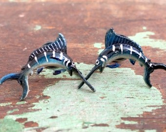Vintage Celluloid Sword Fish Earrings Hand Painted Nautical