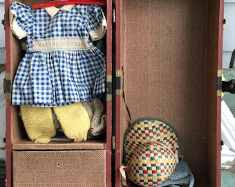 Antique doll chest Trunk suitcase with clothes and Hangers