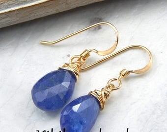 Blue Tanzanite Earrings,Tanzanite Earrings,Royal Blue,Wire Wrapped Gemstone Earrings,Gold Filled