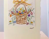 "Therese ""Custom Order Easter Egg Cards""  Watercolor Original Strathmore Card 5"""" x 6 7/8"" & Envelope  betrueoriginals"
