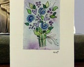 "Flowers Watercolor Card ""Small Card"" 3.5 "" x 4.75""  Stramore Canvas Card betrueoriginals"