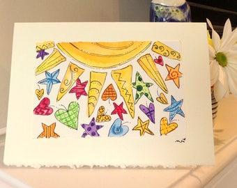 "Here Comes The Sun  Watercolor Original Strathmore Card 5"""" x 6 7/8"" & Envelope Card Blank  betrueoriginals"