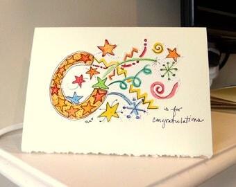 "C is For Congratulations Watercolor Original Strathmore Card 5"""" x 6 7/8"" & Envelope  betrueoriginals"