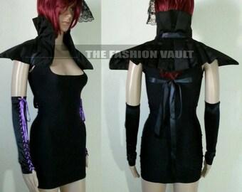 Complete set Cosplay Samurai Warrior Goth collar shrug and bodycon dress