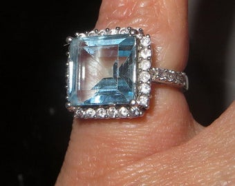 Emerald Cut Blue Topaz CZ Stone Sterling Silver Ring Size 5