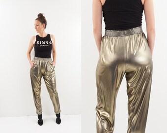 vintage METALLIC gold SHIMMER high waist STRETCH pants M