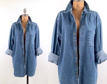 vintage 90s denim CHAMBRAY unisex BOYFRIEND shirt S-L