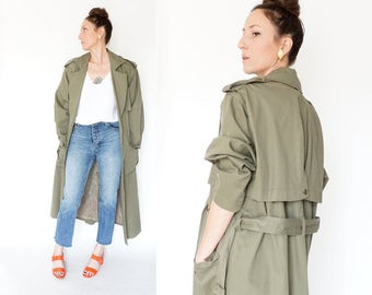 vintage 90s TOGETHER oversized MILITARY long BELTED trench coat M-L