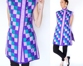 vintage JEWEL TONE checkered TUNIC blouse M