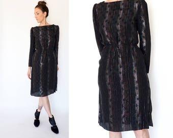 70s black SHEER metallic SHIMMER dress M