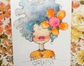 girl boss - an original watercolor illustration