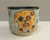 Small Dog Cup, Yellow and Blue Wine Cup, Whiskey Cup, or Juice Cup with Flowers and Skulls, Animal Art Pottery