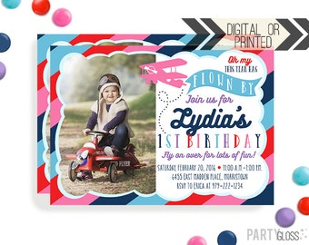 Girl Airplane Birthday Invitation | Digital or Printed | Vintage Plane Invitation | Airplane Invitation Girl | Airplane Invite | Prop Plane