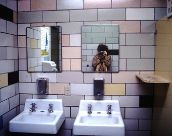 Bathroom Selfie - Vintage Photograph from Slide - Lustre Print.