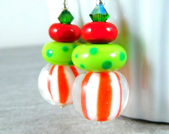 Christmas Earrings, Peppermint Stripe Dangle Earrings, Holiday Jewelry, Red White Green Glass Earrings, Lampwork Earrings, Colorful Funky
