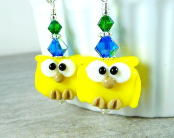 Owl Earrings, Colorful Bird Dangle Earrings, Animal Jewelry, Yellow Blue Green Lampwork Earrings, Nature Inspired, Woodland Animal Whimsical