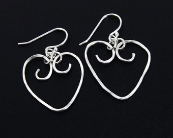 Silver Heart Earrings, Sterling Silver Hammered Heart Earrings