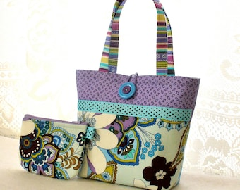Pretty Floral Fabric Little Girls Purse Coin Purse Set Mini Tote Bag Childs Purse Kids Bag Good Earth Blooms Blue Lavender Purple  MTO