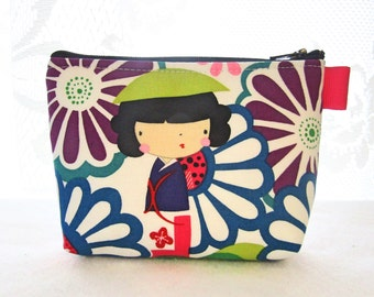 Kaori Kokeshi Doll Cosmetic Bag Fabric Zipper Pouch Makeup Bag Alexander Henry Fabric Gadget Pouch Japanese Bright Purple Pink Lime White