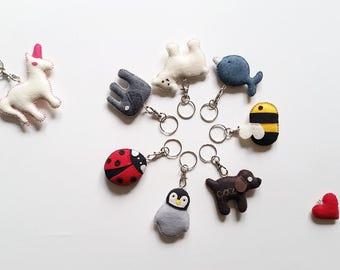 CUSTOM ANIMAL KEYCHAIN - Cute Ornament & Adornment > Eco Felt Vegan Toy stuffed with Organic Cotton — Animal [Porte-Clés, Llavero Ornamento]