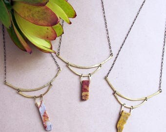 Sepia Mountain Necklace - Agate and Brass Collar style necklace - Statement Rustic Necklace