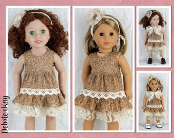 Brown Mori Girl Ruffled Dress - Doll clothes to fit 18 and 20 inch dolls such as American Girl, Australian Girl Doll and similar dolls H73