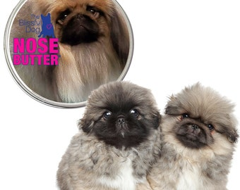 Pekingese ORIGINAL NOSE BUTTER® All Natural Handcrafted Balm for Dry Crusty Cracked Dog Noses 8 oz Tin with Peke on Label in Gift Bag