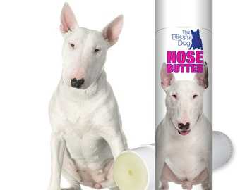 Bull Terrier ORIGINAL NOSE BUTTER® Handcrafted Salve for Rough, Dry, Crusty Dog Noses .50 oz Tube with Bull Terrier Label in Gift Bag