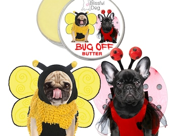 Dog BUG OFF BUTTER All Natural Handcrafted Herbal Insect Balm Cute As A Bug Frenchie and Pug Duo Label 1, 2, 4 oz Tins .15 oz & .50 oz Tubes
