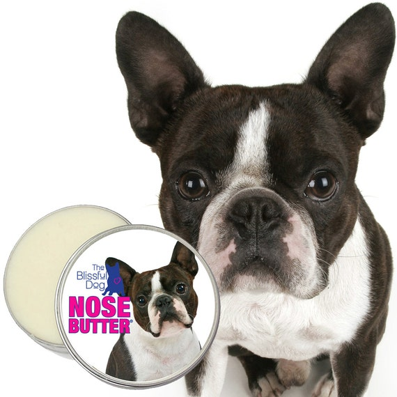 Boston Terrier NOSE BUTTER® All Natural Moisturizing Balm for Dry Crusty Dog Noses Your Choice: 1 oz, 2 oz or 4 oz Tin with Boston on Label