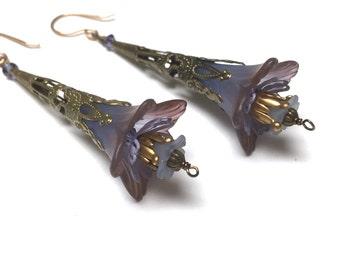 Victorian Filigree Flower Earrings. Long Drop Earrings. Blue. Purple. Lightweight. Garden. Romantic. Fairy. Be Mine. Handmade Jewelry.