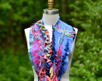 Cashmere blue pink  SCARF with  tassels, dragonfly appliqué/ boho refashioned OOAK Shawl, romantic fairy accessory, embellished artisan Wrap