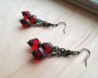 Boho Chic Cluster Earrings Garnet Red Czech Glass Tiered ~ Garnet Lanterns